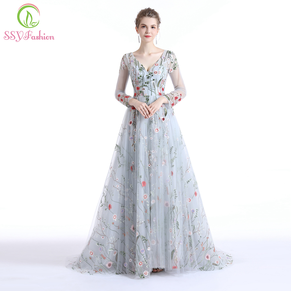 Clearance Flower Evening Dress Long Sleeved V-neck Sweep Train Lace Embroidery Luxury Prom Gown Robe De Soiree