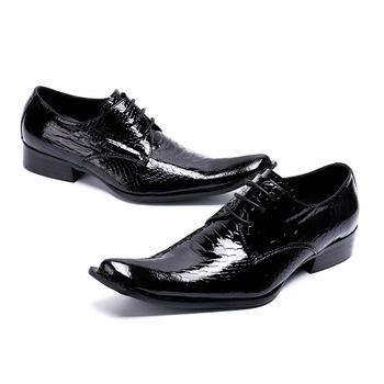 Men's Casual Shoes Genuine Patent Leather Irregular Toe Snakeskin Pattern Lace Up Fashion Height Increasing Shoes Man