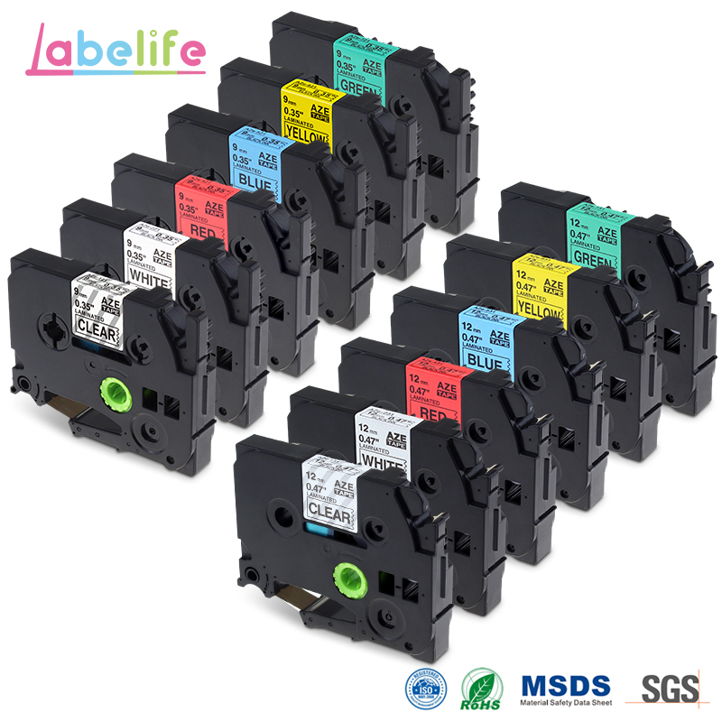 Labelife 12Pack 9mm 12mm TZe 121,221,421,521,621,721 / TZe 131,231,431,531,631,731 Compatible Brother P touch Label Printer-in Printer Ribbons from Computer & Office    1
