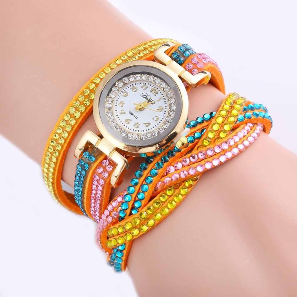 Женские кварцевые часы с полубоковой подвеской, женские повседневные наручные часы с кожаным ремешком