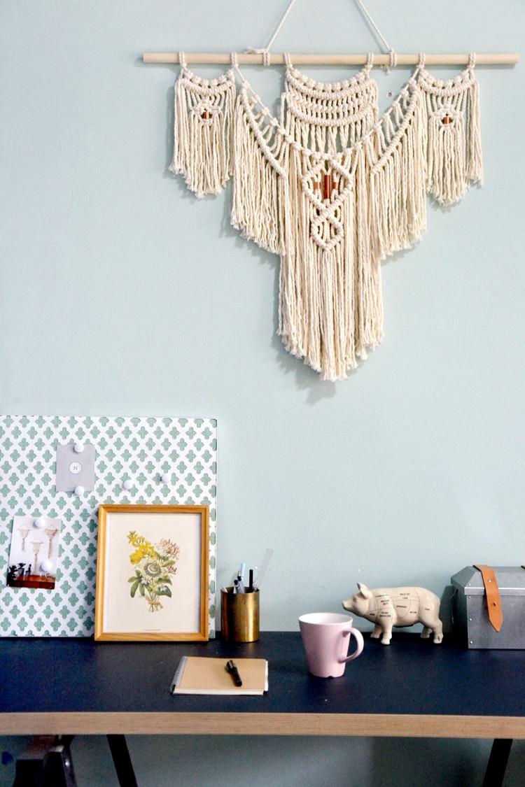 Макраме стены искусства ручной работы хлопок настенный гобелен с кружевными тканями Богемия