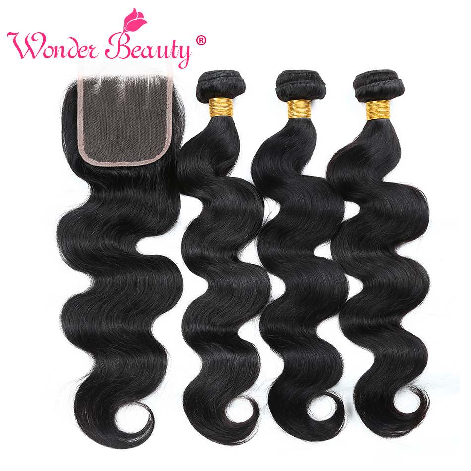 Wonder Beauty Hair Brazilian Body Wave Non Remy Human Hair Extension deals 3 bundles with Lace closure Free/Three/Middle Part