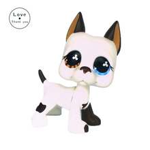 GREAT DANE Dog pet shop lps toys White Puppy With Blue Brown Flowers Eyes 577 Real