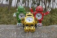 051464 thời trang transformers kim loại báo thức lười biếng đồng hồ mắt glowing báo thức robot báo động clock vận chuyển miễn phí