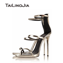 2016 Open Toe Cover Heel Back Zip Closure Gold Sliver Patent Leather Strappy Womens Sandals Ankle Strap Ladies High Heel Shoes