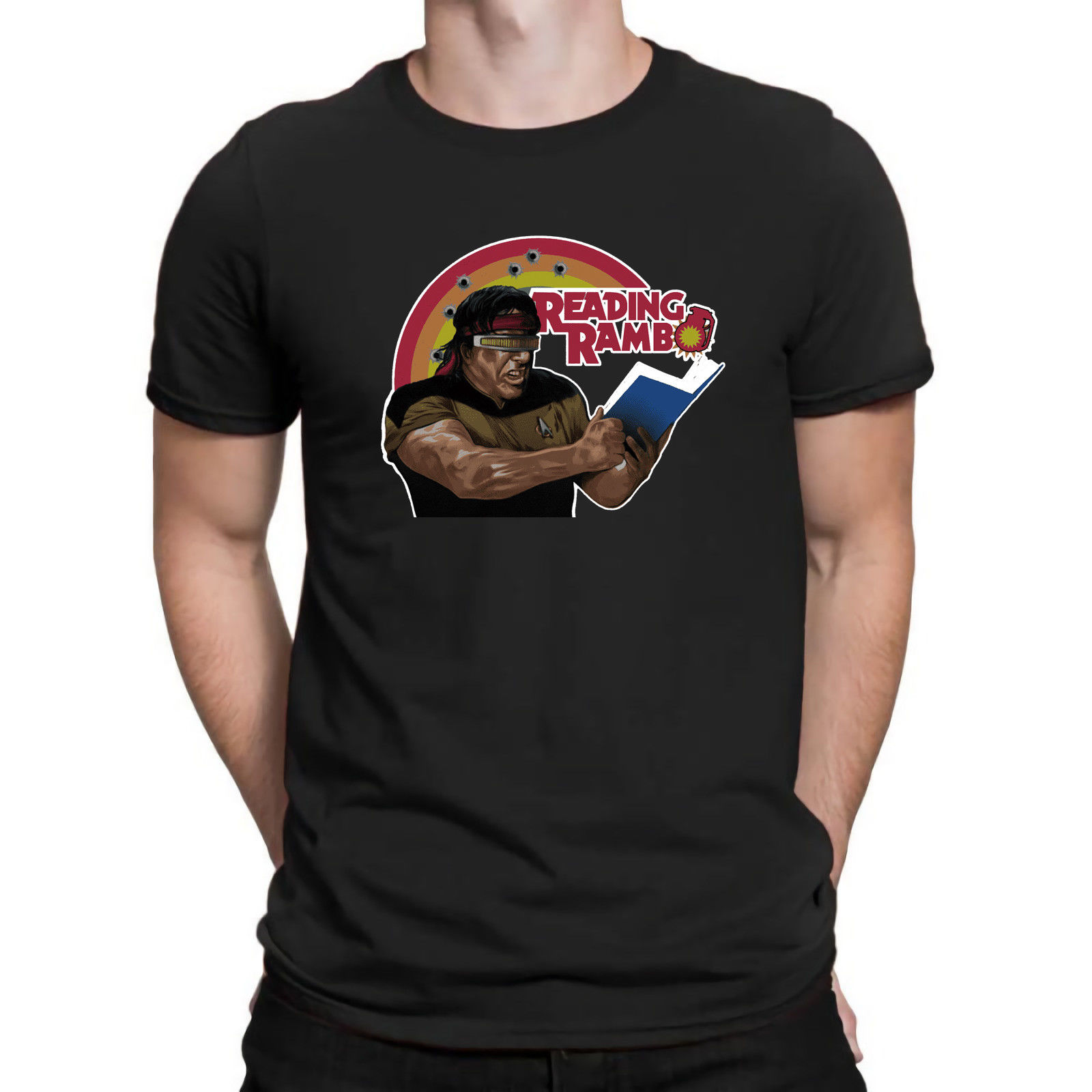 2019 Fashion Stallone Reading Rambo Funny Inspired Parody Movie T Shirt Cotton Black Navy Tee Unisex Tee image