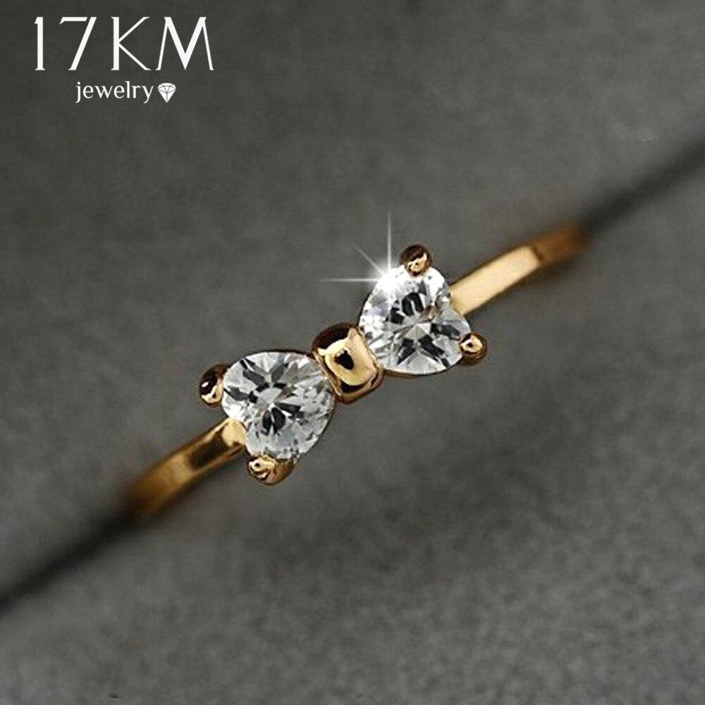 17 км Австрии Кристалл Золотые кольца Цвет палец лук кольцо обручальное Циркон Кристалл Кольца женские ювелирные изделия оптом