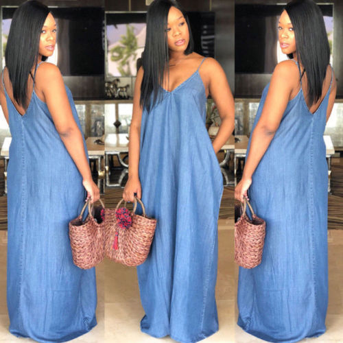 2019 Fashion Women Lady Boho Backless Summer Long Denim Maxi Dress Women Jean Dresses Loose Strapless Vestidos Plus Size S-XXXL 1