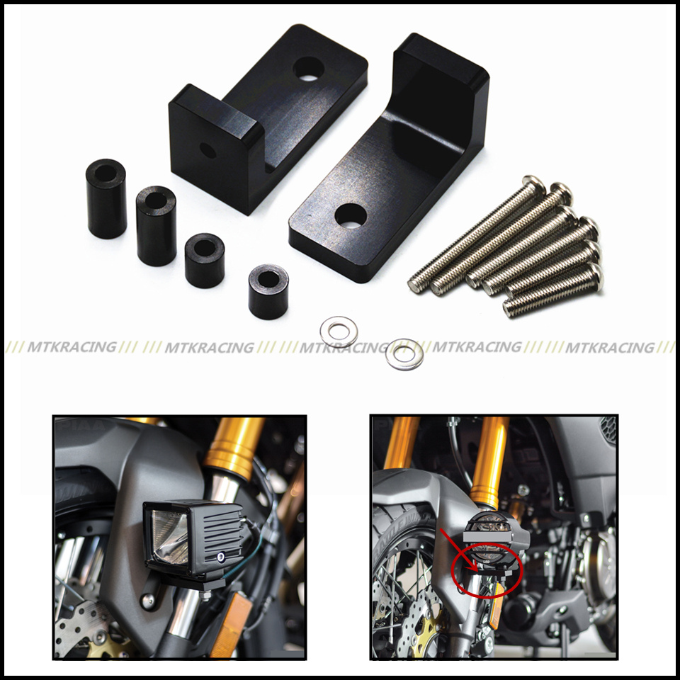 MTKRACING M6 Lower Fork Mount Kit with L Lights Bracket For BMW S1000R S1000RR S1000XR R1200RT R1200RS&Adventure R nineT waase handlebar rise up 28mm movers back 25mm bracket kit for bmw r1200rs r1200 rs 2015 2016 k54