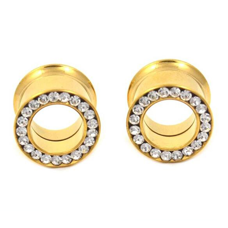 Wholesale CZ Gem Double Flare Screw Fit Ear Gauges Plug Stainless Steel Gold Ear Tunnel Eyelet