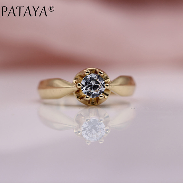 PATAYA New Fashion 585 Rose Gold White Round Natural Zirconia Rings Women Girls Party Simple Noble Jewelry Cute Small Fine Ring