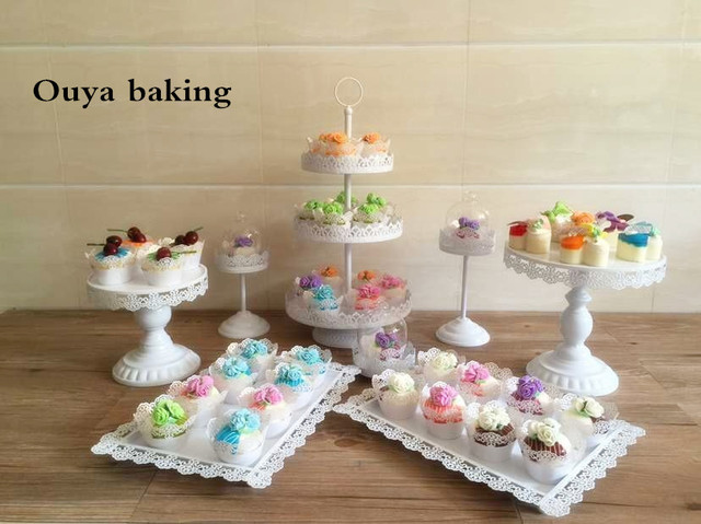 8pcs/lot wedding white iron cupcake stand Party cupcake display ...