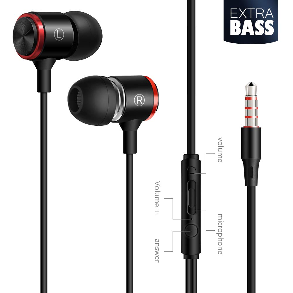 Metal In-Ear Wire Earphones Earbuds High Resolution Heavy Bass With Mic For Smart Android Cell Phones Samsung Mp3 Mp4 Headset
