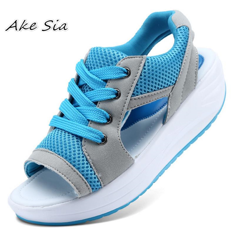 Summer Women Shoes Flat <font><b>Platform</b></font> Wedges <font><b>Sandals</b></font> Breathable Fashion Casual Shoes Woman Ladies Tennis Open Toe Hot Sandalias s074 image