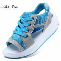 Verano Mujer Zapatos plataforma plana cuñas Sandalias transpirables moda Casual zapatos mujer damas tenis abierto caliente Sandalias s074