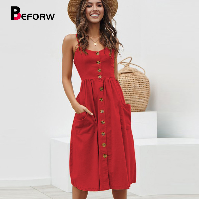 BEFORW Casual Summer Midi Dress Women Sexy Backless Straps Beach Dress Bohemian Floral Sundress Pocket Dresses Female Vestidos in Dresses from Women 39 s Clothing