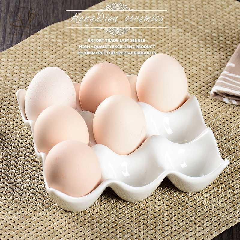 Creative 9 grids white ceramic egg tray container storage box refrigerator egg holder 12 grids egg cup