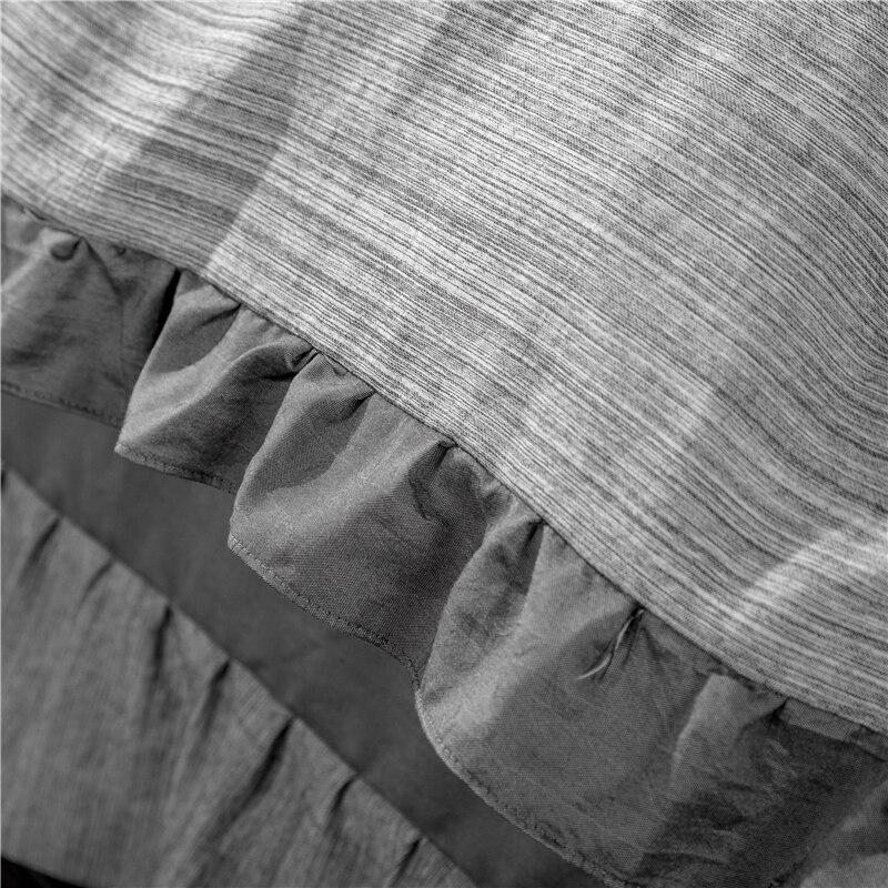 4 piezas de ropa de cama de lujo de algodón de lavado teñido de hilo/ropa de cama de tamaño Queen funda de edredón juego de sábanas - 2