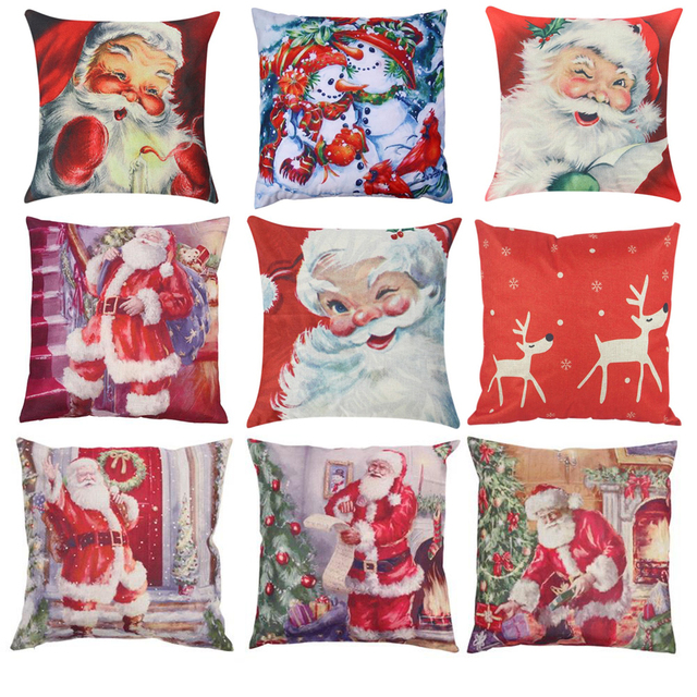 Merry Chirstmas Full Printed Cotton Linen Pillow Case Cushion