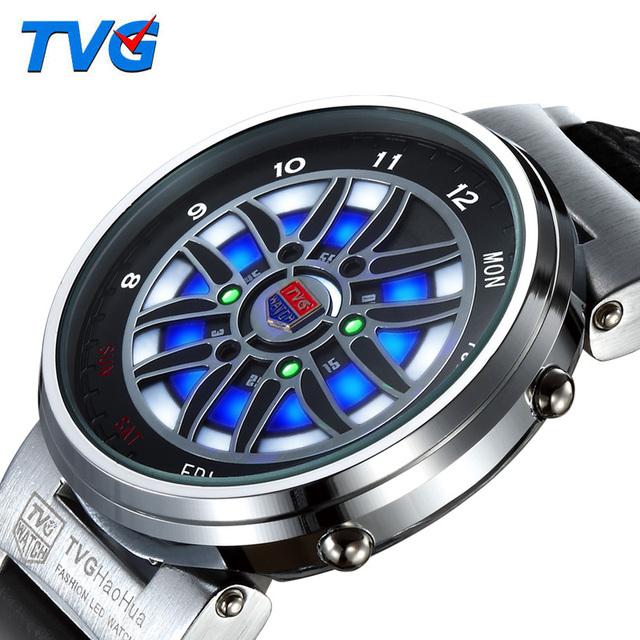 Multifunções Quartzo TVG LED Relógio Digital de Esportes Ao Ar Livre Luzes Coloridas Carro De Corrida De Couro Genuíno de Aço Display 014