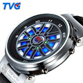 TVG Multifunción de Cuarzo LED Digital Reloj Deportivo de Carreras de Coches de Cuero Genuino Al Aire Libre Luces De Colores Pantalla de Acero 014