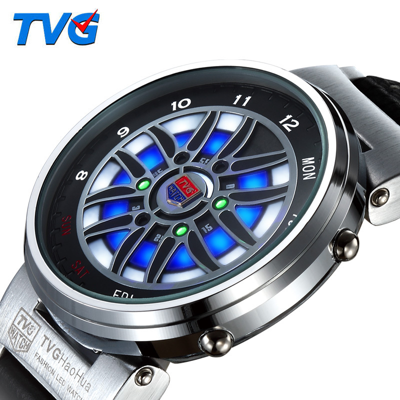 TVG Multifunction Quartz LED Digital Watch Sports Outdoor Car Racing Genuine Leather Colored Lights Display Steel