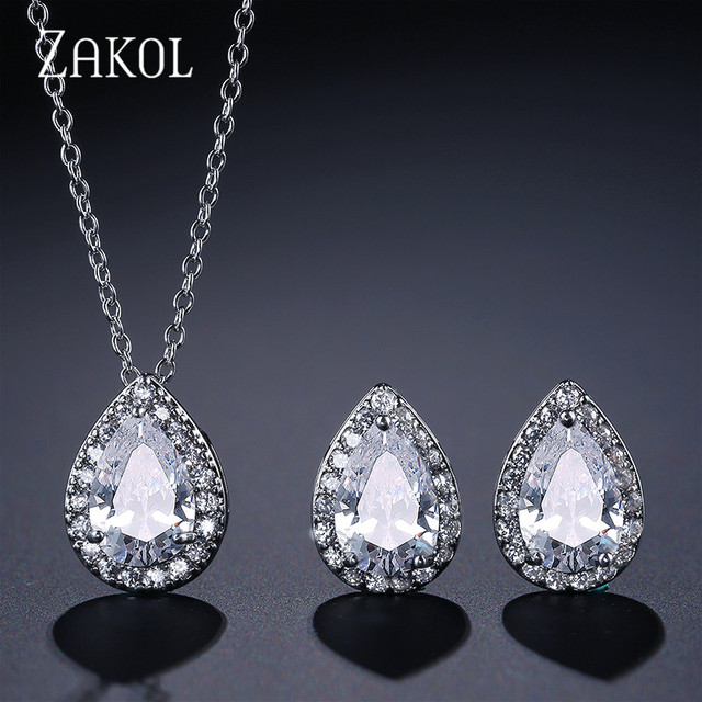 ZAKOL Hot Sale Sliver Color Jewelry Sets Fashion Teardrop Cubic Zirconia Jewelry For Women Engagement Fast Delivery FSSP267