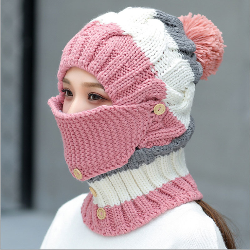 oZyc pom poms hat women   beanie   hat Womens   Beanies   black pink winter hat solid faux fur hat and scarf for women   Skullies     Beanies