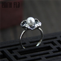 Genuine 925 Sterling Silver Female Vintage Open Rings Lotus Leaf Pearl Design Fashion Jewelry For Women