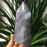 469g NATURAL FLUORITE CRYSTAL QUARTZ stones WAND POINT fengshui healing