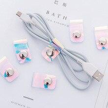 4 шт. USB устройства для сматывания кабеля, органайзер для наушников, провод, обернутый шнур, держатель для хранения для iPhone, samsung, huawei, Xiaomi, наушники