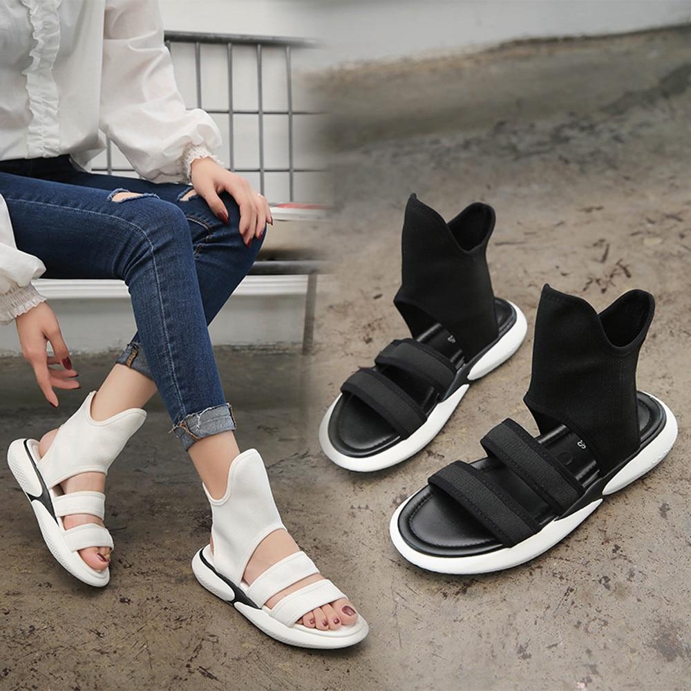 Sagace Young girls Sandals 2018 SUMMER Vintage Women Cloth Shake Shoes Summer Sandals Round Toe Gao Bang Flat Shoes MAY 15