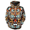 2016 new fashion tiger hoodie women/men printed hoodies Casual graphic hoodies funny Sweat shirt tie-dye Sweatshirt clothes tops
