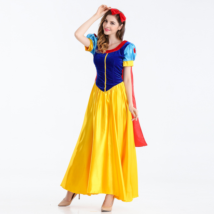 Snow White Costume Anime Princess Dress Adult Halloween Party Cosplay Fancy Clothes with Cape Hairband for Women S-2XL Dress anime vocaloid snow miku kagamine rin lovely lolita dress uniform cosplay costume for women free shipping