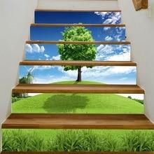 3D עץ רצפה דקורטיבי מדבקות מסדרון מדרגות ומדרגות מדרגות מדבקות קיר PVC להדביק