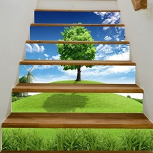 Pegatinas para escaleras de árbol en 3D, para pasillo, escaleras, escalera, pasta decorativa para suelo, pegatinas de pared de PVC