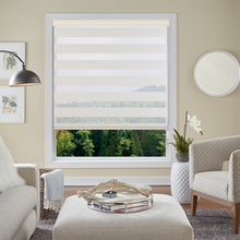 Hemp Elegant Adjustable Sunlight Home Valance Dual Roller Blinds Zebra Customized