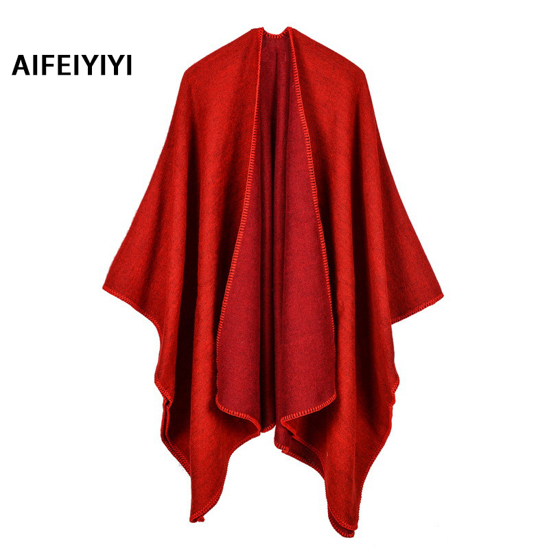 Pure cashmere cashmere shawl Europe and the United States original single warm monochrome cloak plain cloak