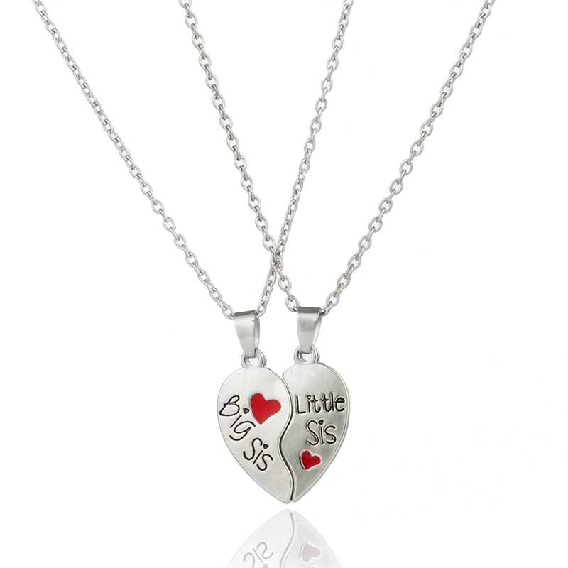 Classic sister necklace Heart puzzle BIG SIS LIL SIS Pendant necklaces for sisters BFF series jewelry gifts