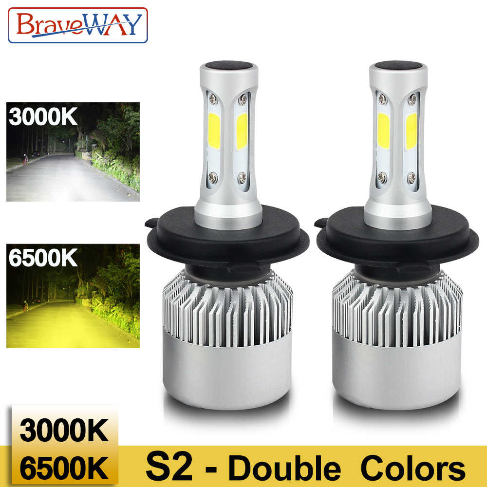 BraveWay H4 Led Headlight Dual Color Lamp H7 Led Bulb Double Color Car Fog Lamp Small Size H1 H3 Led Lamp H8 H11 HB3 BH4 Lights