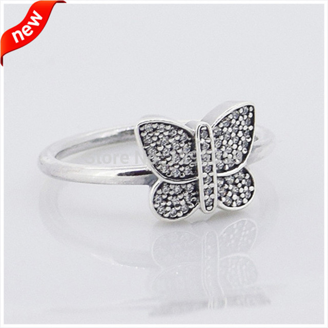 DIY FIts European Style Jewelry Butterfly Silver Rings for Women with Clear CZ 925 Sterling Silver Fashion Jewelry FLR15038