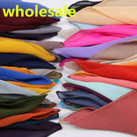 HOT SALE 48Nice Color plain bubble chiffon Small square scarf popular muslim hijab head wear fashion women wholesale 20 pcs/lot