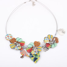 Bonsny Parrot New 2016 fish flower Spring style leaf necklace fashion necklace & pendant for girls woman lovely chain necklace(China)