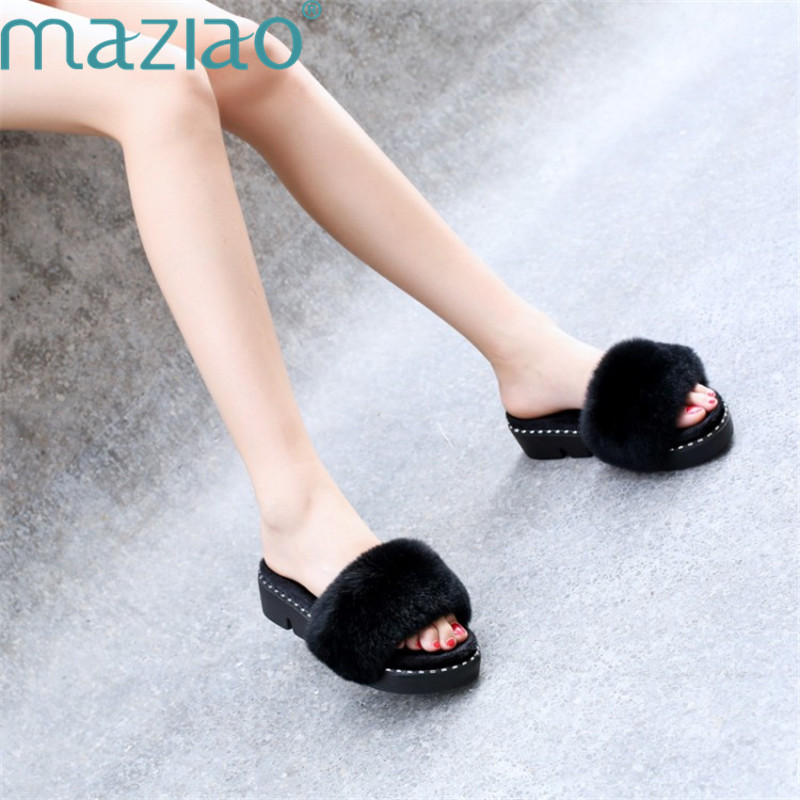 Slippers Fur Open Toe Casual Breathable Comfort Classics Low Heel Fashion Home Slippers Women MAZIAO