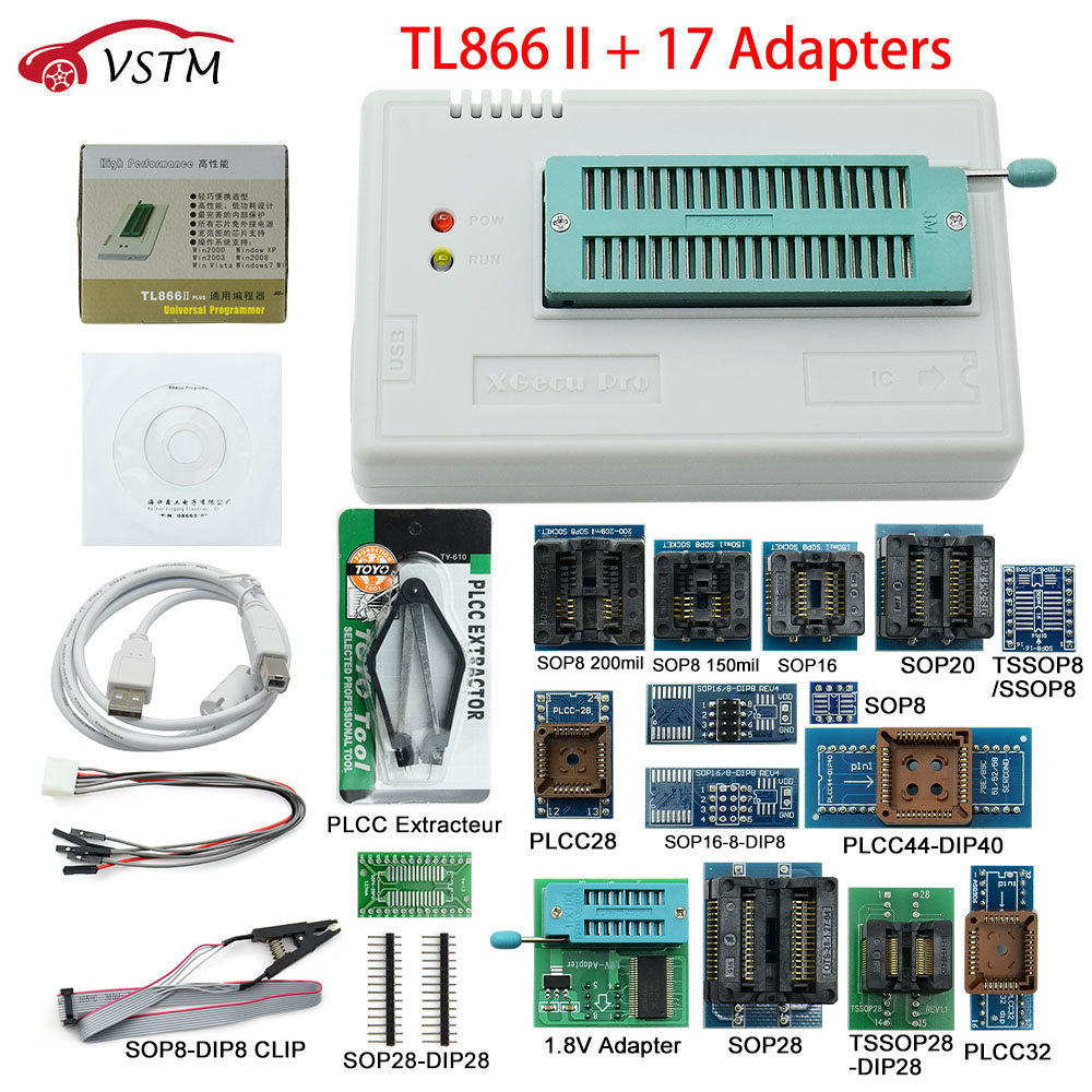 Original TL866II Plus Universal Programmer 17 Adapters SOP8 IC Clip High speed TL866 Flash EPROM Programmer