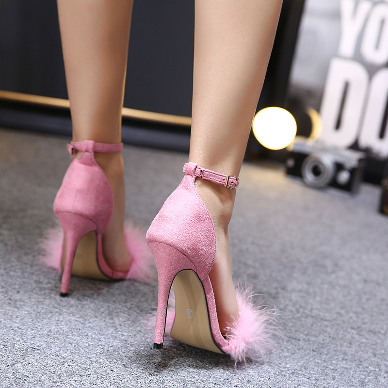 Women Summer Shoes gladiator High Heel Sandals 2017 Fashion Fur thin heels Sandlias women Sandals Sexy Ladies Shoes size 35-40 6