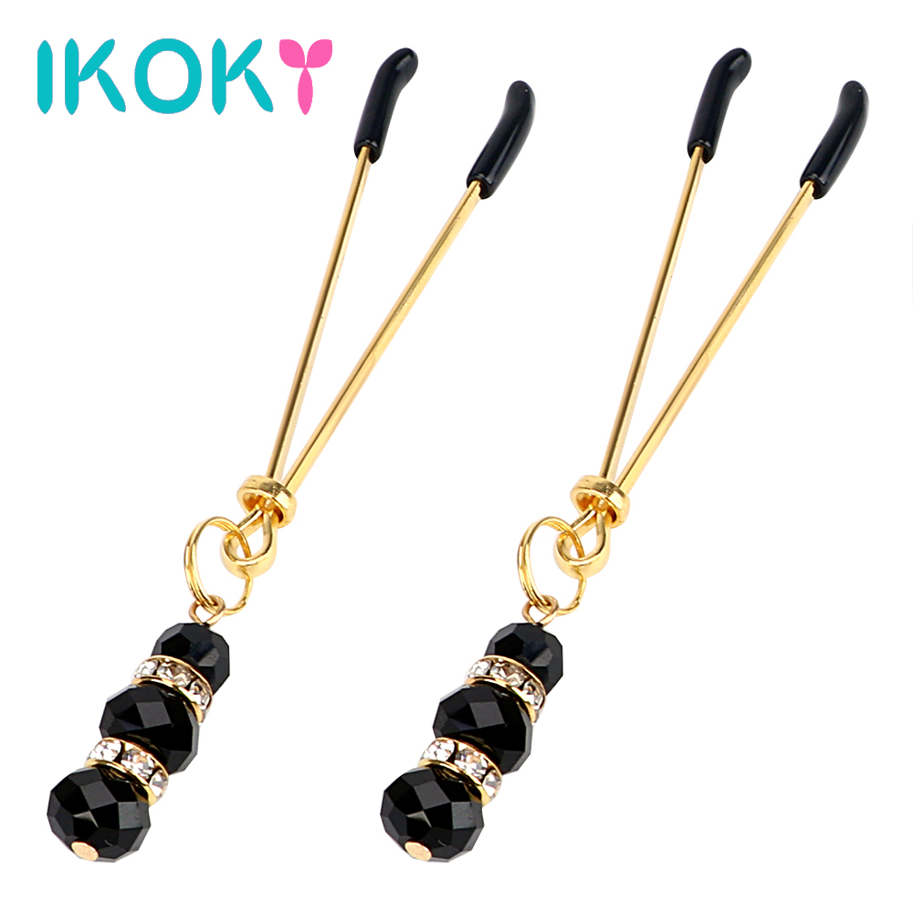 IKOKY 1 Pair Adult Game Nipple Clamps Clit Clamp Adjustable Erotic Product Sex Toys for Couples with Jewelry Breast Labia Clips