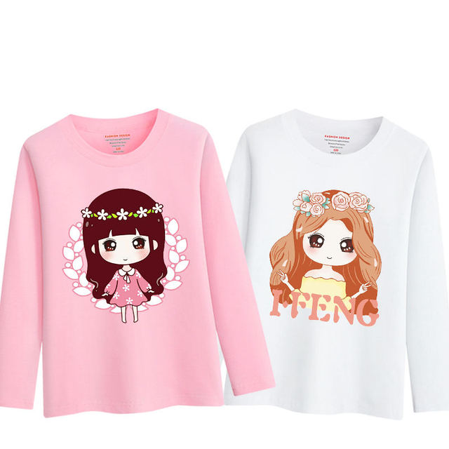 f4792960c48 2019 Spring Long Sleeve T Shirt Kids Girl Summer Cotton Shirts for Teenage  School Girls Children Cartoon Tops 6 8 9 10 12 Years