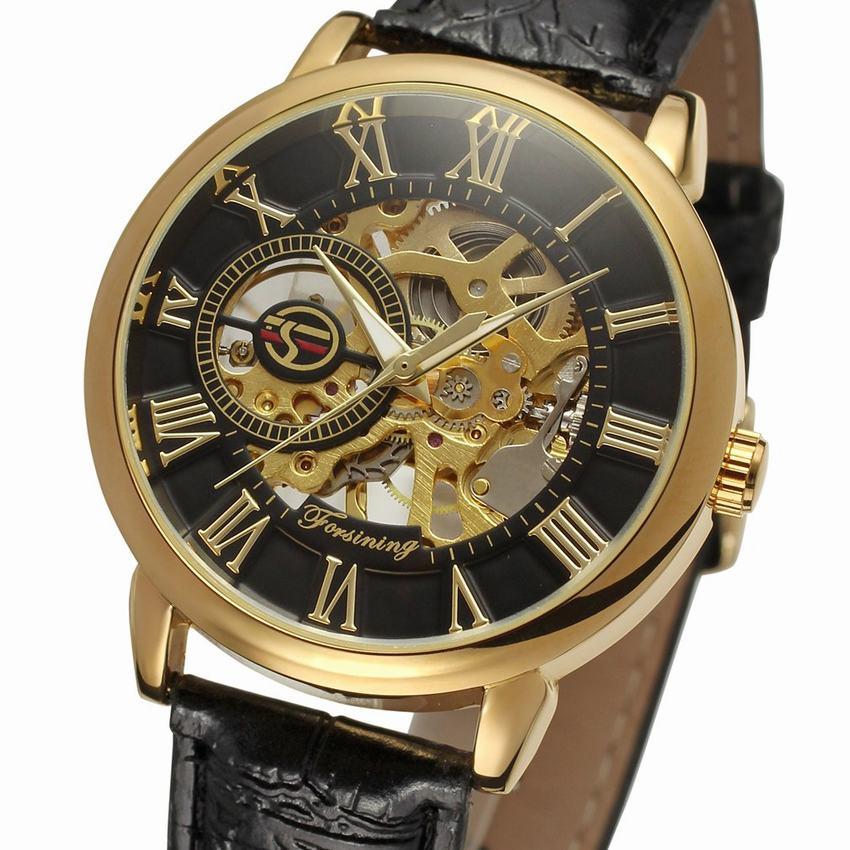 Nuevo reloj de los hombres de moda 3d diseño de logotipo de oro negro de cuero los hombres esqueleto de marca de lujo hombre Horloge