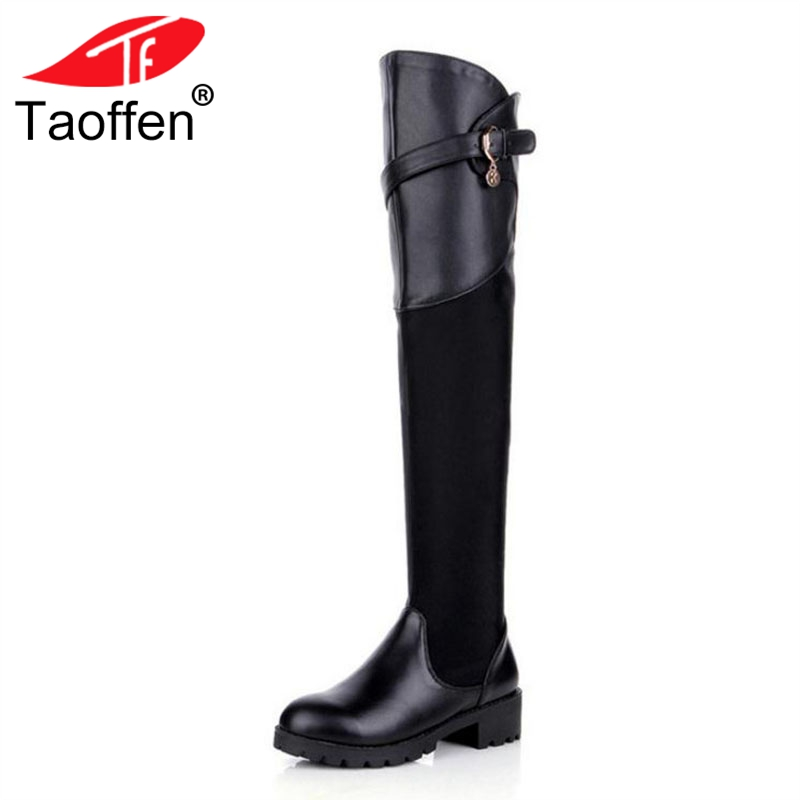 TAOFFEN Women Flats Boots Genuine Leather Women Winter Shoes Metal Buckle Fur Over The Knee Boots Fashion Shoes Size 34-39 taoffen luxury women genuine leather mid calf boots winter plush fur warm shoes women gothic buckle flats boots size 34 39